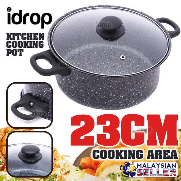 idrop Black Kitchen Cooking Pot with Lid Cover [ 23cm ]