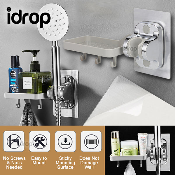 idrop Bathroom Wall Mounted Shower Head Holder Bracket & Toiletry Mini Shelf