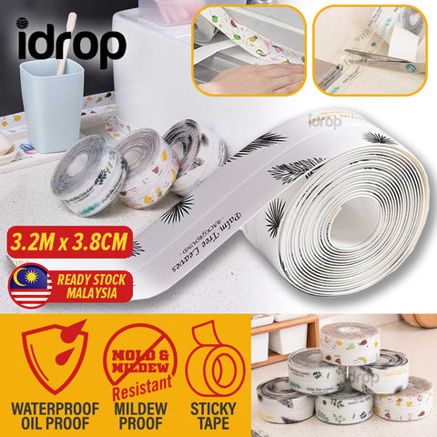 idrop [ 3.2M x 3.8XM ] Kitchen Waterproof Mildew Proof Seal Protective Sticky Tape