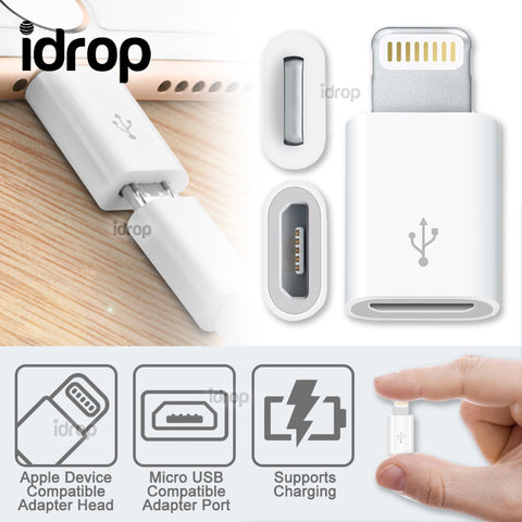 idrop Mini USB Adapter Converter for Micro USB Compatible Port to Apple Device Compatible Charging Port