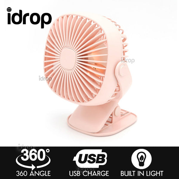 idrop 360 degree rotating Clip Hold USB rechargeable Fan adjustable speed night light fan