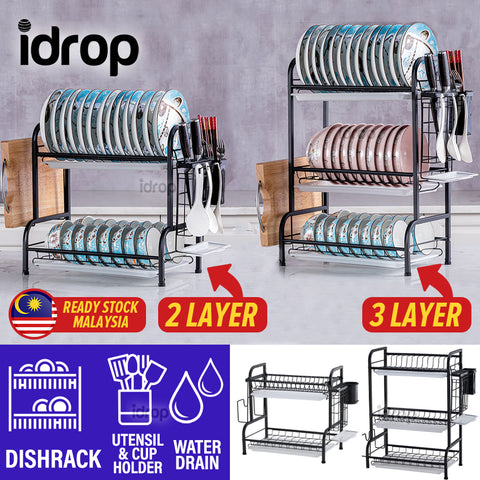 idrop [ 2 LAYER / 3 LAYER ] Kitchen Household Multifunction Utensil & Tableware Dishrack Storage Shelf Rack
