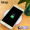 idrop Slim Round Wireless Charger With Light Indicator - Compact Light Portable Charging Device