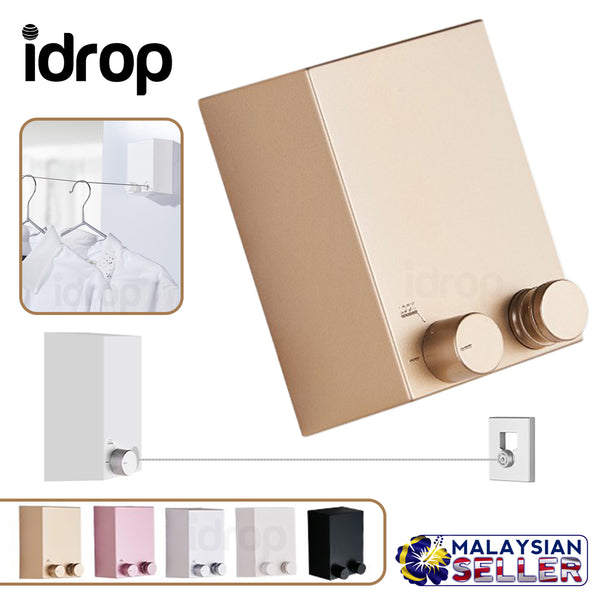 idrop LAUNDRY CABLE HANGER - Wall Retractable Metal Steel Clothes Line