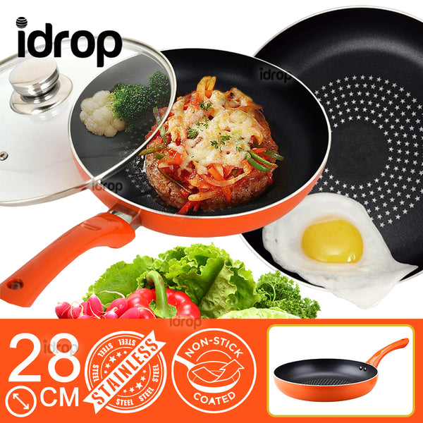 idrop Non-Stick Thick Stainless Steel Frying Cooking Wok Pan [28cm]