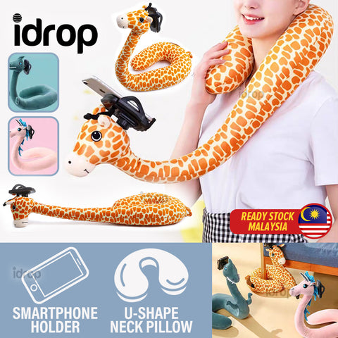 idrop U-Shape Animal Neck Pillow with Smartphone Phone Holder
