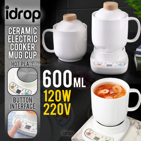 idrop 600ml Electric Mini Ceramic Soup Poridge Cup Mug Cooker