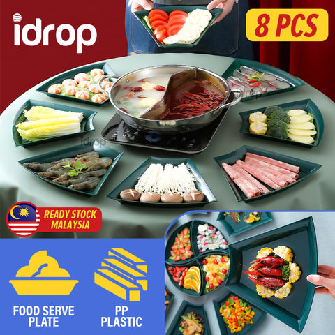 idrop [ 8PCS ] Crescent Dining Serve Plate Food Platter / Pinggan Lauk Makanan / 塑料月牙盘