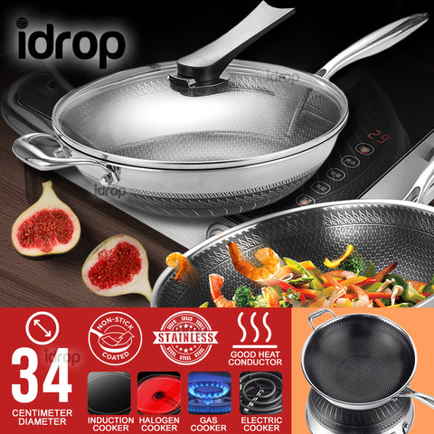 idrop 34CM Stainless Steel Non Stick Double Sided Honeycomb Cooking Frying Pan Wok