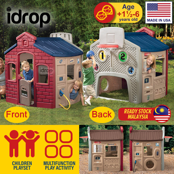 idrop Children's Outdoor Playhouse - School House / Gas Station / Market / Basketball Football Playset