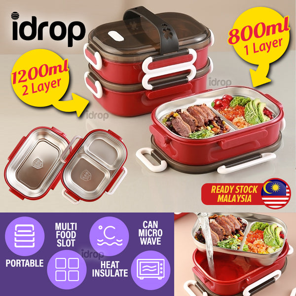 idrop [ 1 LAYER(800ml) / 2 LAYER(1200ml) ] Portable Lunch Box with Stainless Steel Multi Compartment Food Eating Tray