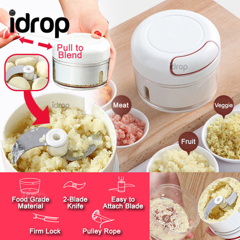 idrop 170ml Mini Handheld Manual Pulley Portable Blender Grinder