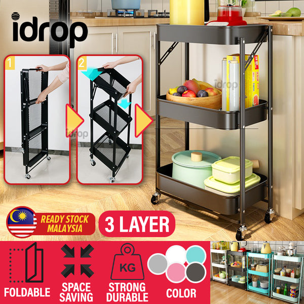 idrop 3 LAYER Foldable Portable Space Saving Kitchen Storage Tray Trolley Shelf