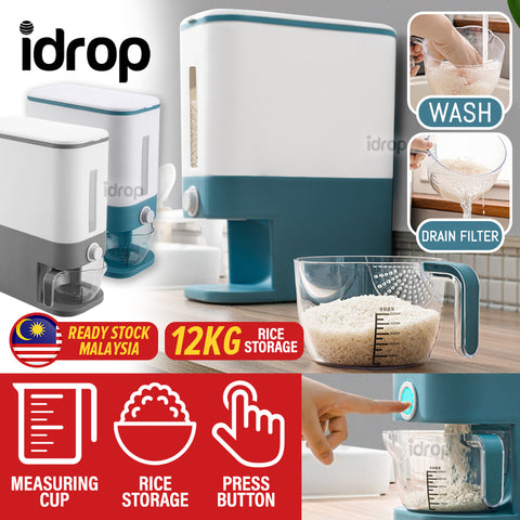 idrop 12KG Kitchen Household Rice Cereal Storage Sealed Container Dispenser