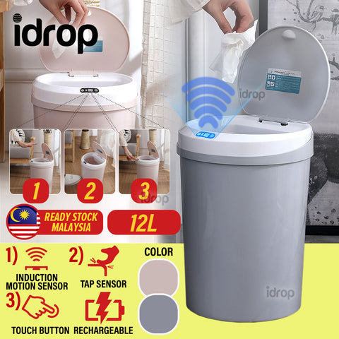 idrop 12L Rechargeable Smart Trash Rubbish Bin with Induction Motion Tap and Touch Sensor