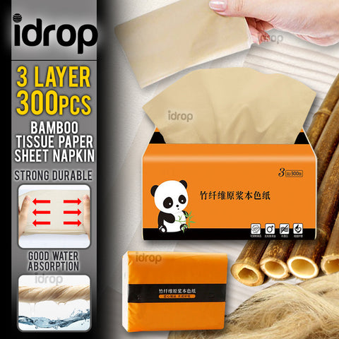 idrop [ 3 PLY LAYER / 300PCS ] Natural Bamboo Soft Facial Tissue Paper Sheet Cleaning Napkin