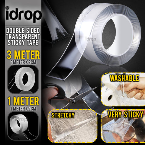 idrop Double Sided Transparent Sticky Tape - Washable Reusable Tape [ 3 METER / 1METER x 2CM ] SMALL