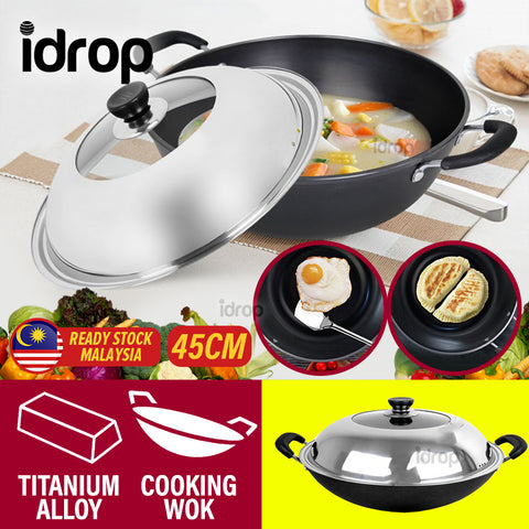 idrop [ 45CM ] Kitchen Titanium Alloy Frying Cooking Wok