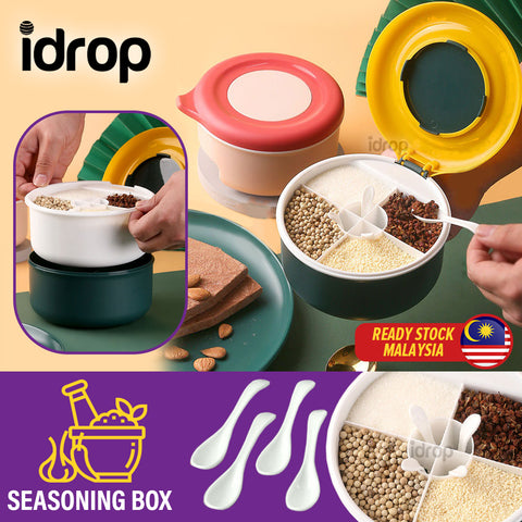 idrop Multi Compartment Grid Seasoning Storage Box with Spoons / Kotak Simpan Rempah Ratus / 美之扬四格塑料调味盒