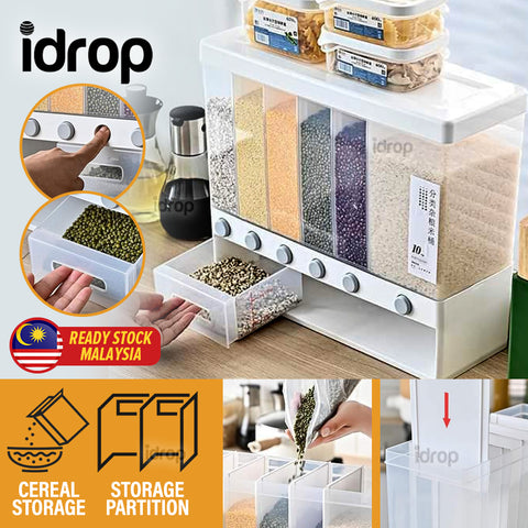 idrop [ 6 Compartment ] Cereal & Grain Food Storage Partitioned Container Dispenser