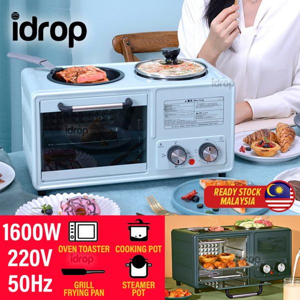 idrop [ ALL IN 1 ] 3 IN 1 Multifunctional Electric Toaster Maker Oven with Cooking Frying Pan and Cooker Pot