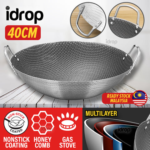 idrop 40CM Nonstick Honeycomb Interior Cooking Wok Cookware