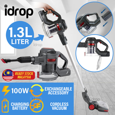 idrop [ 100W / 2200mAh ] Rechargeable Strong Suction Cordless Vacuum [ 1.3L ]