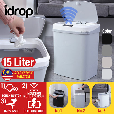 idrop 15L Rechargeable Smart 3D Trash Rubbish Bin with Induction Motion Tap and Touch Sensor