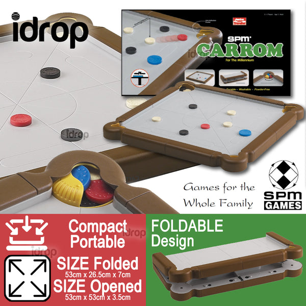 idrop SPM GAMES - CARROM Foldable Multiplayer Board Game Play Set