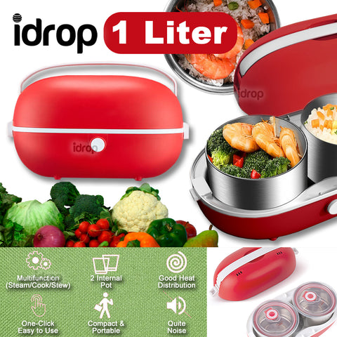 idrop  [ 1L ] 2 IN 1 Smart Electric Cooker & Heater Portable Lunchbox