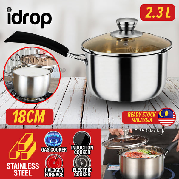 idrop [ 18CM ] [ 2300ml ] Stainless Steel Milk & Soup Cooker Pot