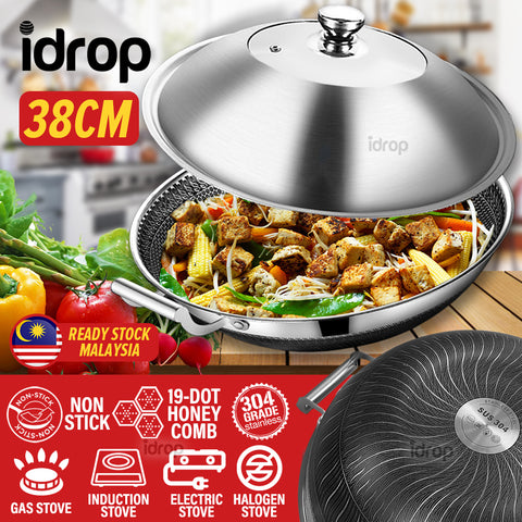 idrop 38CM Honeycomb Nonstick Kitchenware Cookware Cooking Wok Pot + Lid Cover