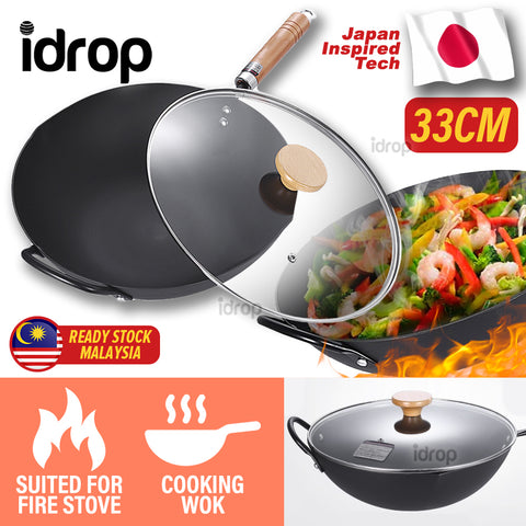 idrop 33CM Nonstick TAMASAKI Round Bottom Kitchen Cooking Wok