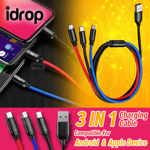 idrop 3 IN 1 Three Color USB Recharging Cable for Micro USB / Type-C / Apple Device