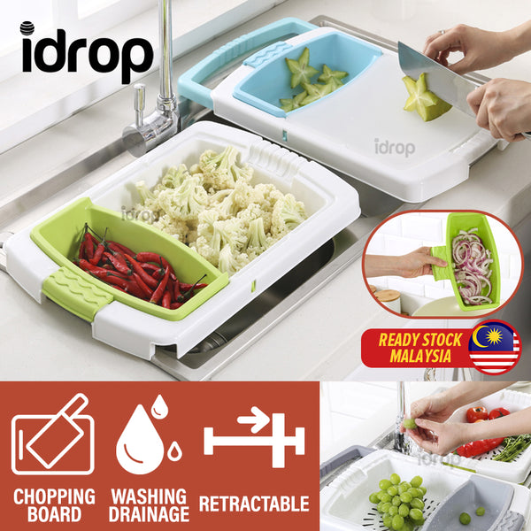 idrop 2 IN 1 Multifunction Kitchen Sink Retractable Cutting Chopping Board Water Draining Basket