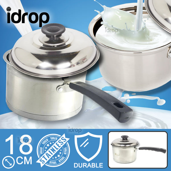 idrop 18cm Stainless Steel Milk Pot With Combined Lid