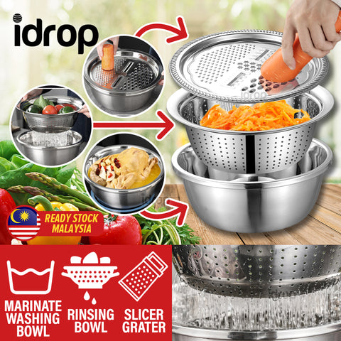idrop [ 3 IN 1 ] 28CM Multifunction Kitchen Washing Rinsing Slicing Grating Bowl Set