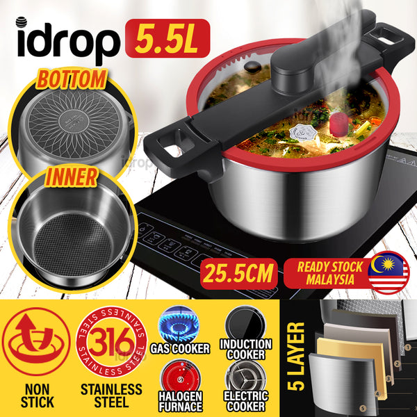 idrop [ 5.5L ] 25.5CM Stainless Steel Micro Pressure Non Stick Cooking Soup Pot Cooker