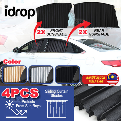 idrop Car Window Frame Sunshade Sliding Curtain Blinds [ SET OF 4 ]