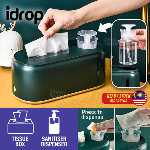 idrop 2 IN 1 Household Tissue Box with Hand Press Sanitiser Dispenser