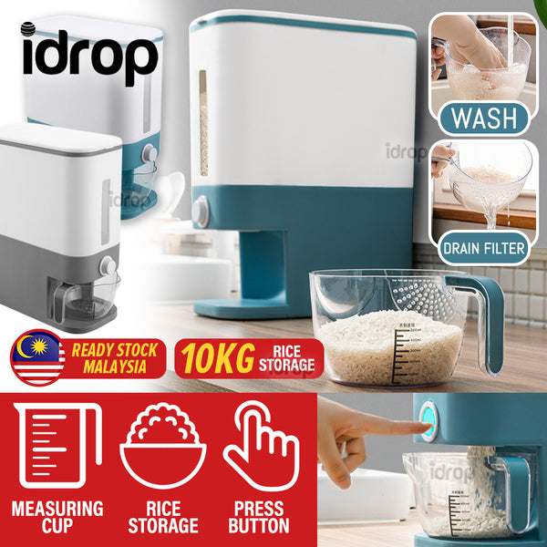idrop [ 10KG Storage ] Kitchen Household Rice Cereal Storage Sealed Container Dispenser