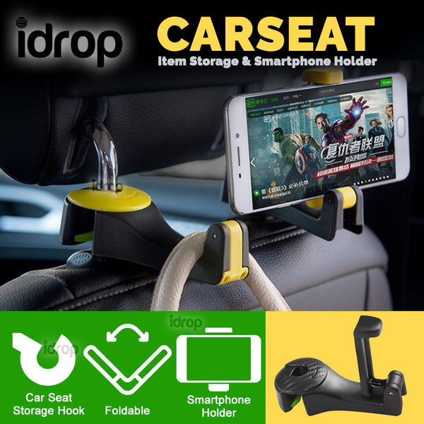 idrop Car Seat Rear Storage Hook and Smartphone Holder