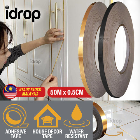 idrop [ 50M x 0.5CM ] Household Decorative Sevving Adhesive Strip Sticker [ Gold / Black  ]
