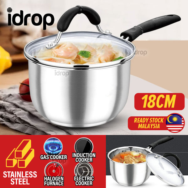 idrop [ 18CM ] Milk Pot Induction Stainless Steel Cooking Pot