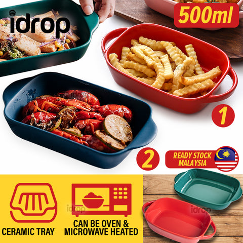 idrop [ 500ml ]Ceramic Baking Bowl Tray Plate Serveware Tableware