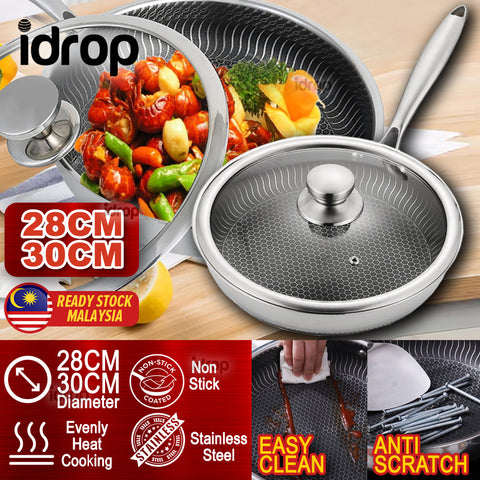 idrop 28/30CM Nonstick Stainless Steel Cooking Wok Frying Pan