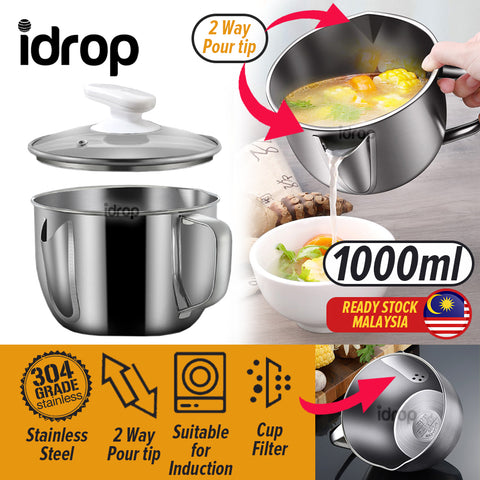 idrop 1000ml Oil Soup Filter Separator Cup SU304 Stainless Steel
