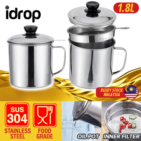 idrop 1.8L Stainless Steel Filter Separator Oil Storage Pot for Kitchen Tools -
