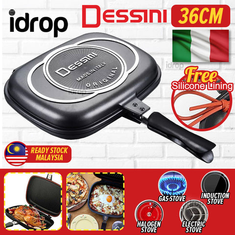 idrop [ DESSINI ] 36CM DOUBLE SIDED FRYING PAN - Kitchen Cooking Pressure Grill Cookware