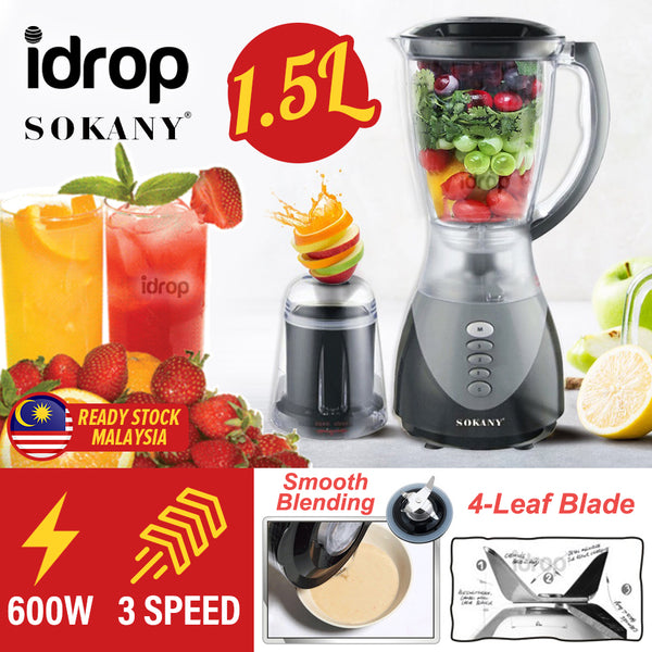 idrop [ 1.5L ] SOKANY 2 IN 1 Multipurpose Blender Juicer Mixer Mixing & Grinding with 3 Speed Adjustment 600W